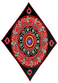 red applique elephants with mirrorwork on black CF45 l - فروشگاه زنیت چرم